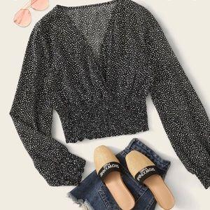ROMWE/shein allover print shirred waist blouse